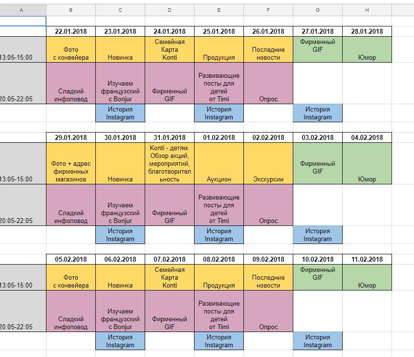 календарный контент-план