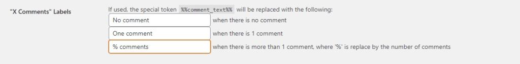 X Comments Labels